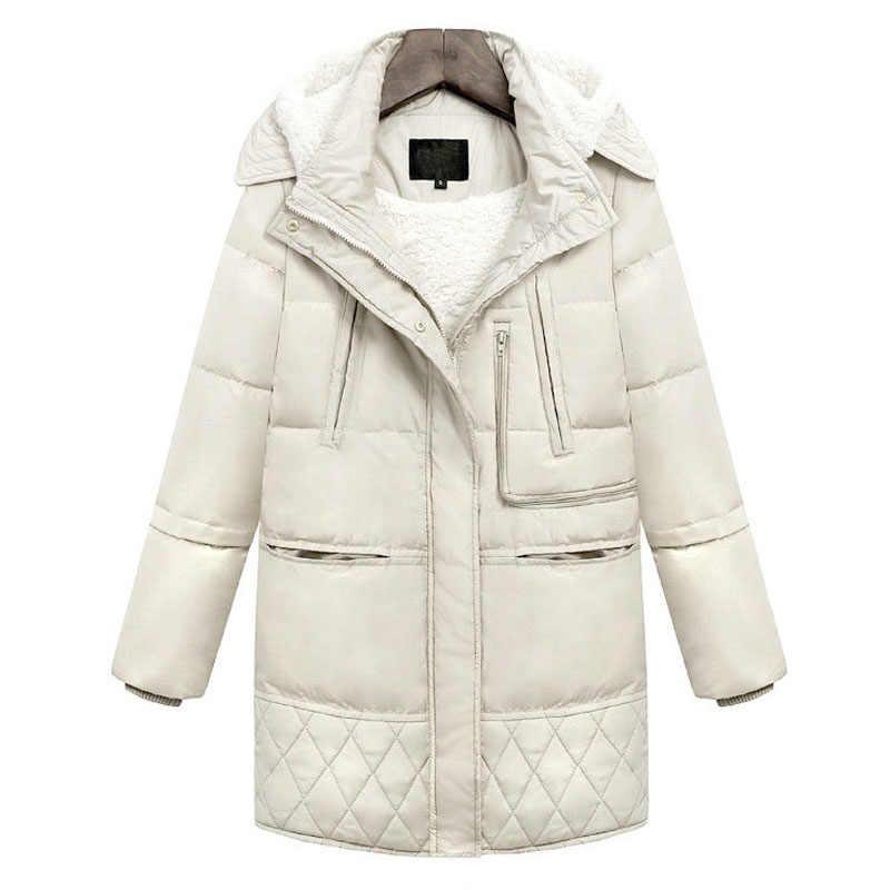 2019 зимние толстые пуховики из белой утиной шерсти ягненка имитация женские теплые хлопковые пальто Верхняя одежда парки Пальто WWY404