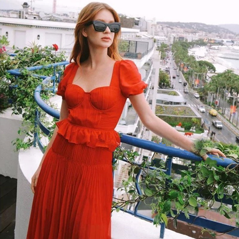 Short-Sleeve-Red-Solid-Dress-For-Woman-Ruffle-Square-Collar-A-line-Pleated-Party-Dress-Female