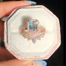 Conjunto de 2 unidades de anillo de corona de corte cuadrado para mujer, sortija con incrustaciones de diamantes de imitación, sortija de boda de compromiso, joyería para fiesta