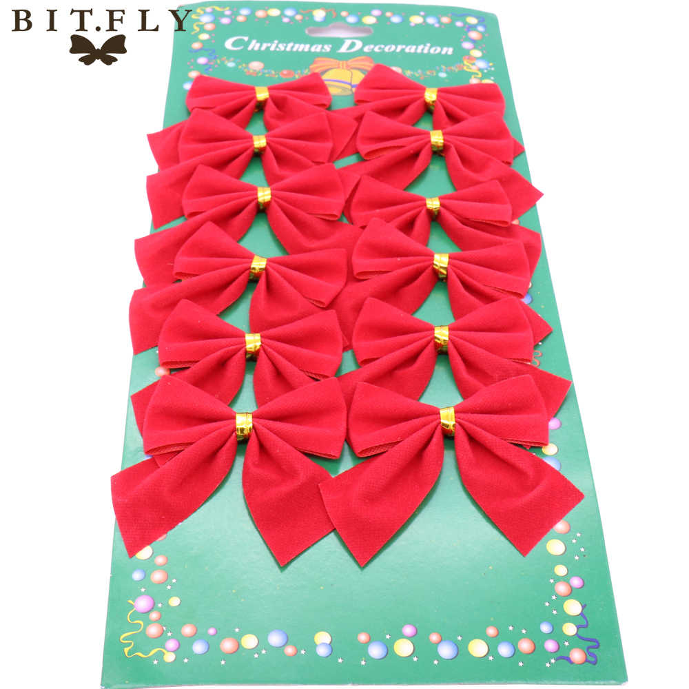 12pcs Pretty bow Christmas ornament Christmas tree decoration DIY wedding party home Bowknots ornaments New Year Decoration