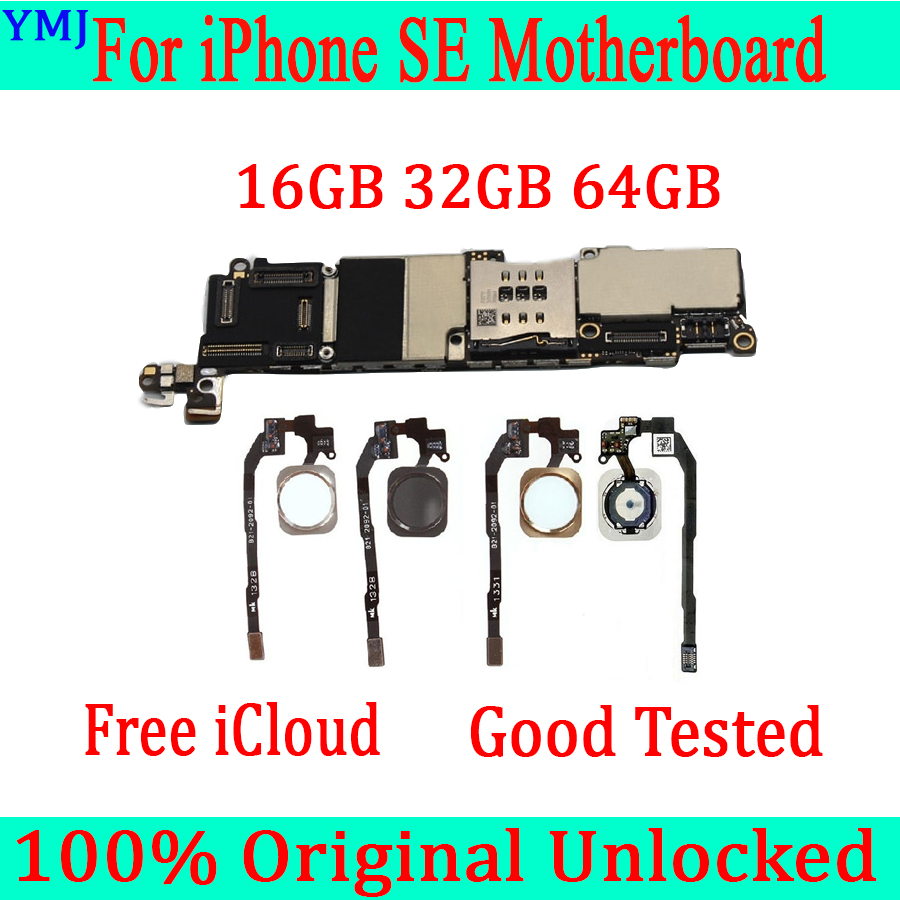 With /Without Touch ID For Iphone SE Motherboard,100% Original Unlocked For Iphone 5SE SE Mainboard With IOS System