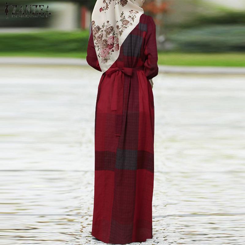 Women Dubai Muslim Islamic Kaftan Long Dress ZANZEA Autumn Vinatge Plaid Checked Pirnted Puff Sleeve Abaya Kaftan Maxi Dress