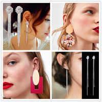 Vintage Acryl Erklärung Tropfen Ohrringe für Frauen 2019 Mode Schmuck Koreanische Quaste Kristall Lange Tropfen Baumeln Ohrringe