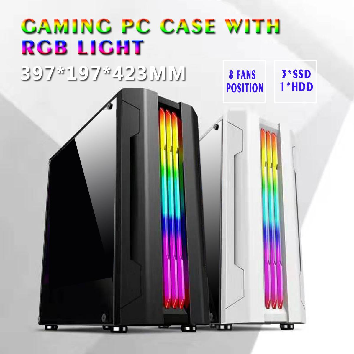 LEORY 397*197*423mm 280mm Graphics Card Electric Contest Pc Case With Rgb Light Acrylic Side Board 3SSD 1HDD ATX/MATX/ITX