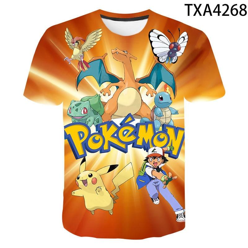Boy And Girl 3D Summer Pokemon Fashion Cartoon T-Shirts Hip Hop Streetwear Casual Short Sleeve Men Women Printed T-Shirt 4T-14T