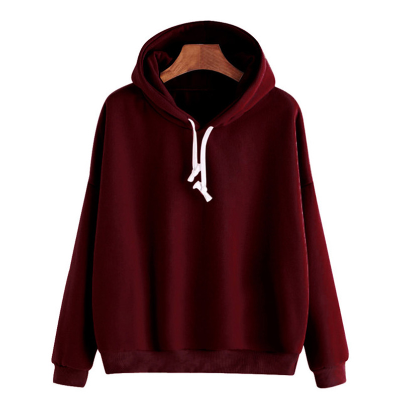 Autumn Sweatshirts Of Women Pink Long Sleeve Hoodie Pullovers Basic Hoodies Burgundy Plain Tops Moletom Feminino Sweatshirt