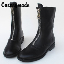 Careaymade-Fall and winter front zipper boots in women show thin Fashion real cowhide original plus velvet cotton