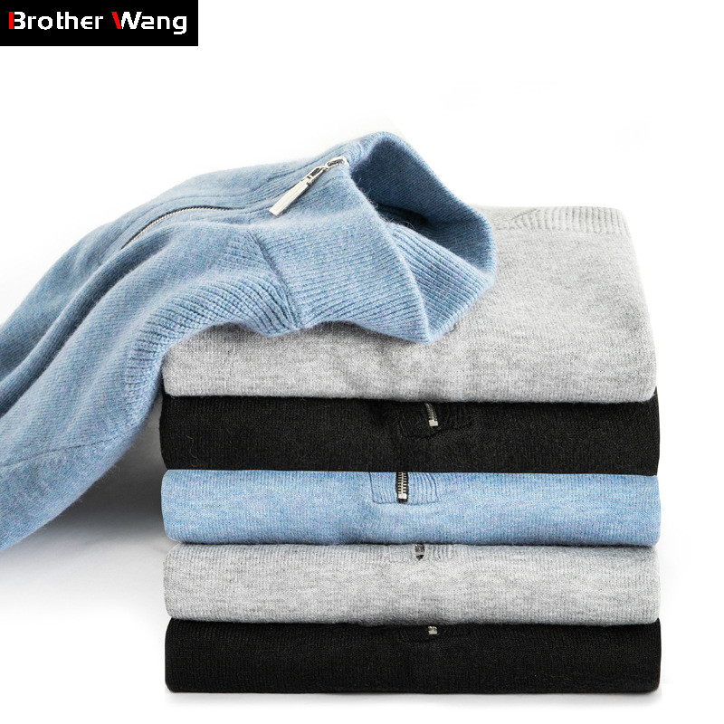 2019 Winter New Men's Warm Wool Sweater Business Fashion Slim Fit Thick Turtleneck Zip Sweater Male Brand Pullover Clothes