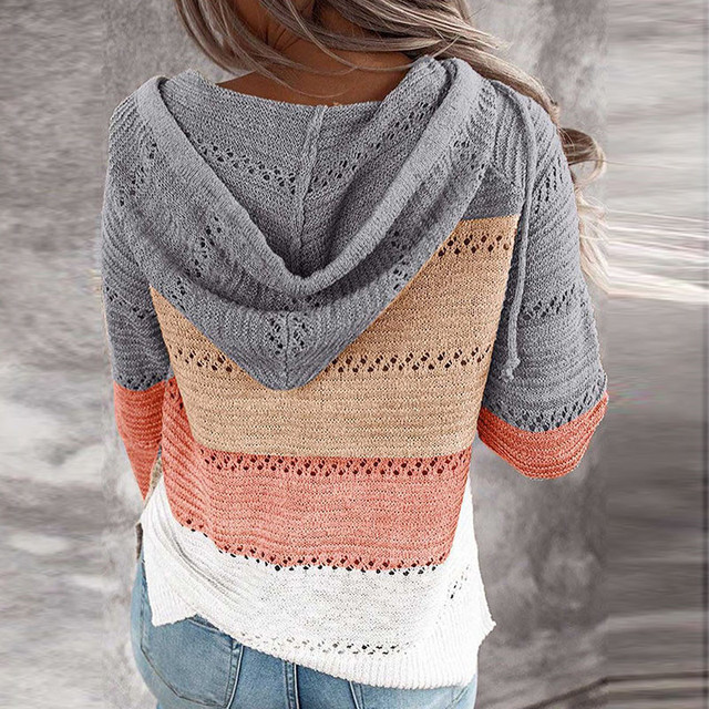Autumn Women Patchwork Hooded Sweater Long Sleeve V-neck Knitted Sweater Casual Striped Pullover Jumpers 2020 New Female Hoodies 6