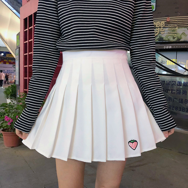 Harajuku Strawberry Embroidered Skirt Female Loose High Waist Button Zipper Pleated Skirt Student Skirt Cute Pink Skirt Cotton