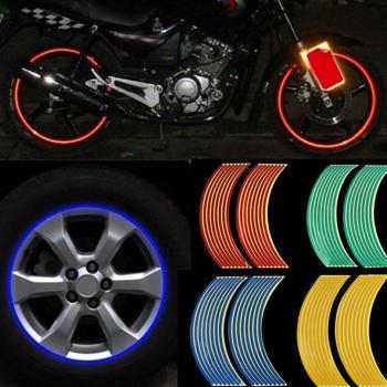 16 Strips/Set DIY Reflective Tape Car Motorcycle Rim Wheel Sticker Motorcycle Decal Decoration Tape Stripe Rim Stickers Car G1I3 image