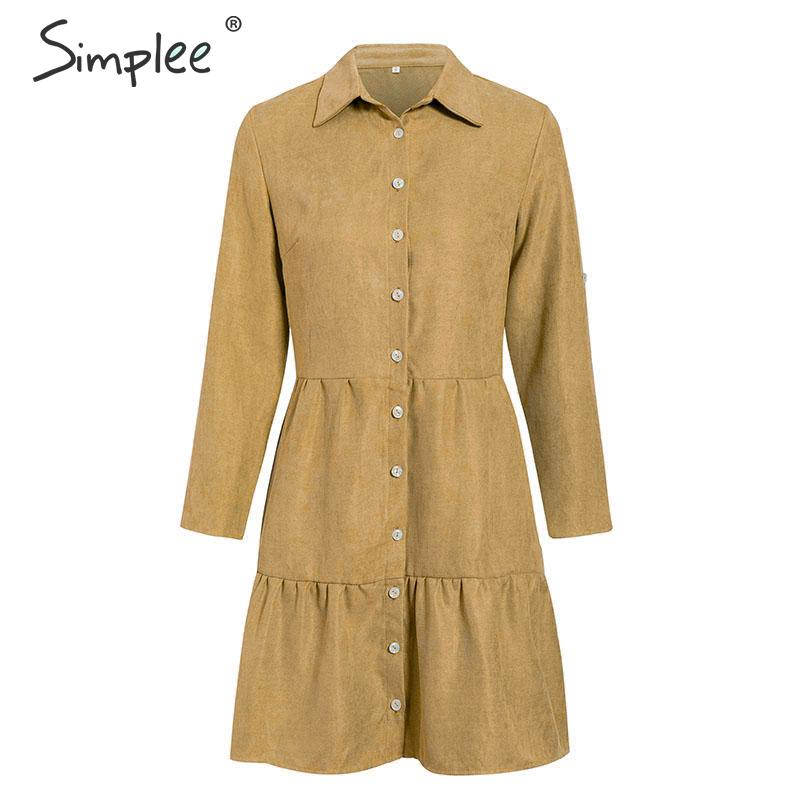 Image 5 - Simplee Autumn women shirt dress A line lapel solid female casual blouse dress Winter long sleeve office ladies chic short dressDresses   -