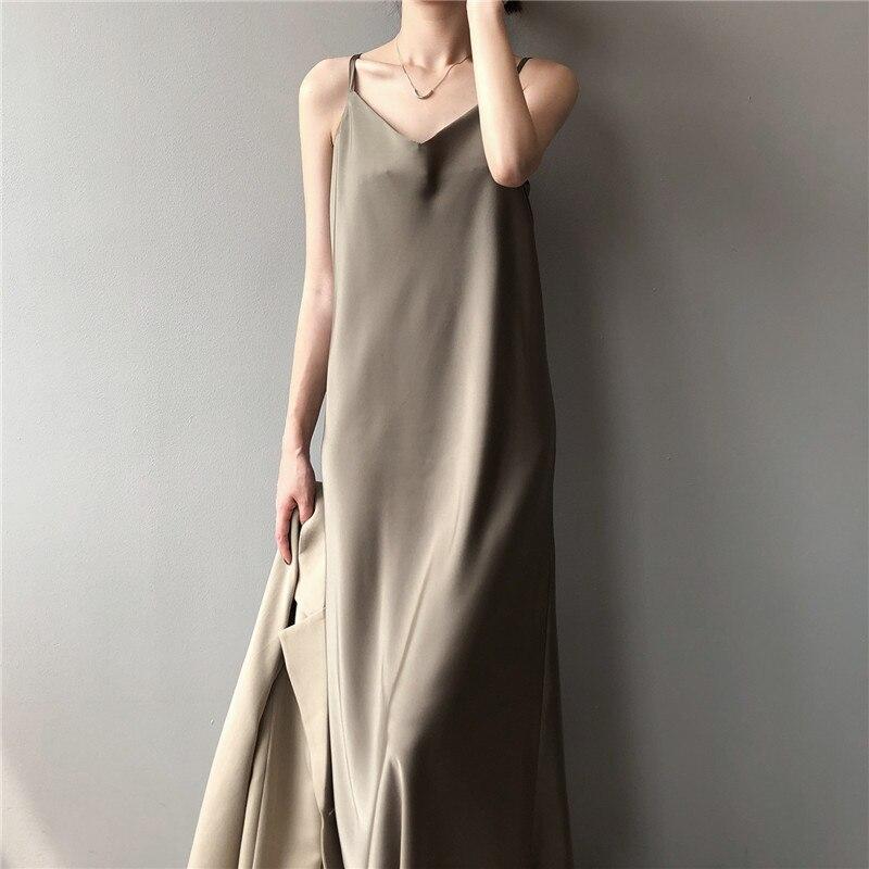 New Arrival Women V-Neck Sleeveless Women Dress Y5702 Vintage Satin Summer Long Dress Boho Elegant Women Casual Dress Vestidos (5)