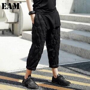 [EAM] High Waist Black Dot Split Joint Thin Harem Trousers New Loose Fit Pants Women Fashion Tide Spring Summer 2020 JT543