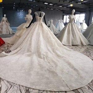 Image 2 - HTL1002 роскошное свадебное платье бохо Иллюзия o образным вырезом без рукавов Кнопка назад аппликации невеста, свадебное платье новый дизайн robe de mariage