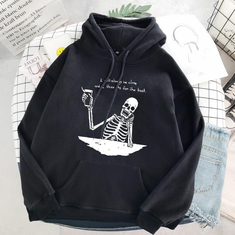Punk style women's hoodie skull long sleeve casual top goth skeleton dark black 2021 loose ulzzang fashion women's sweatshirt 11