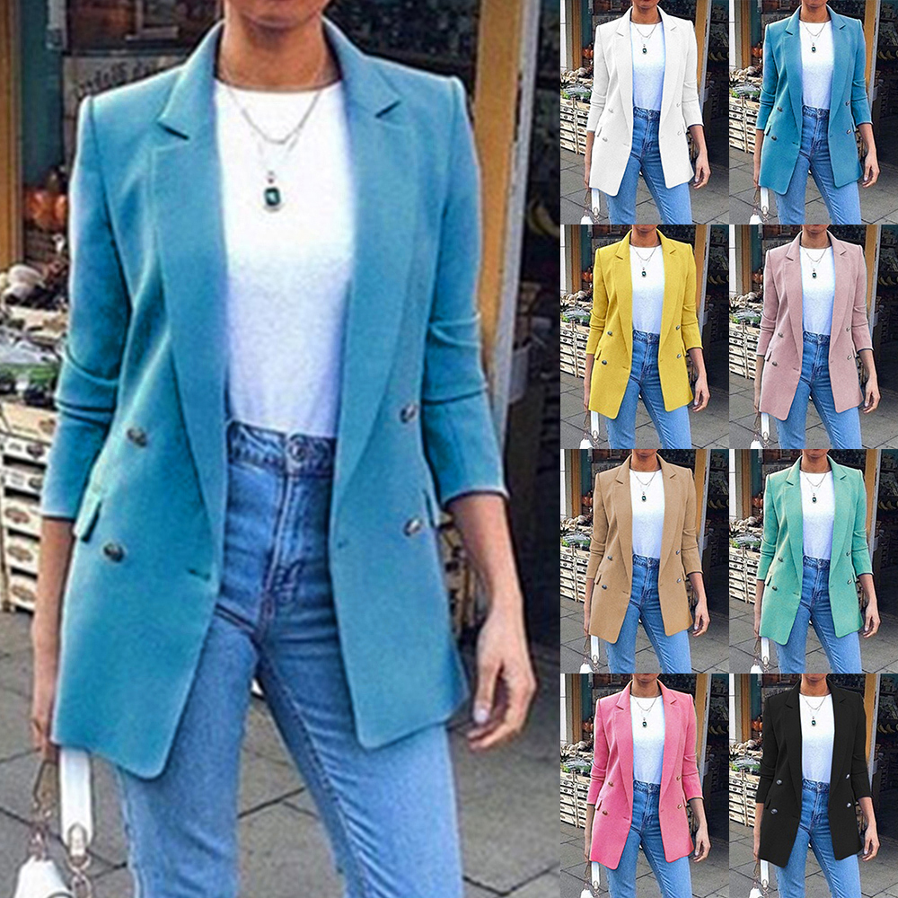 Spring Ladies Blazers 2019 Fashion Double Breasted Slim Blazer Women Suit Jacket Pink Female Plus Size Blazer Femme Formal