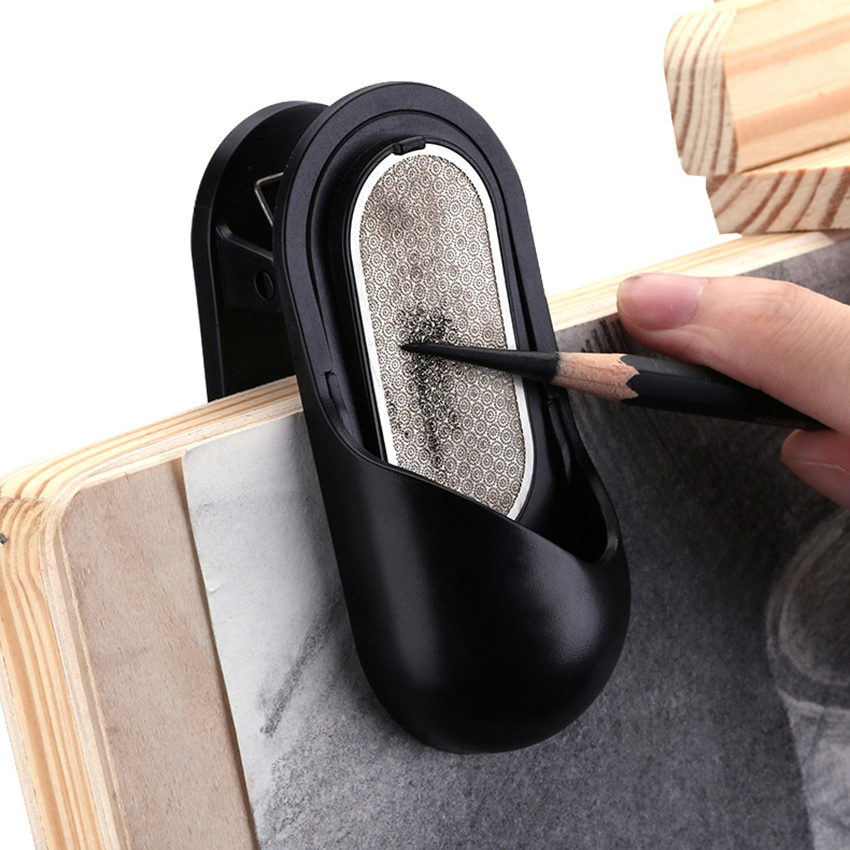 Multi-function Paper Clip Picture Spring Clip Pencil Grinder Charcoal Strip Double-<font><b>sided</b></font> Sandpaper <font><b>Sander</b></font> For Art Drawing Sketch image