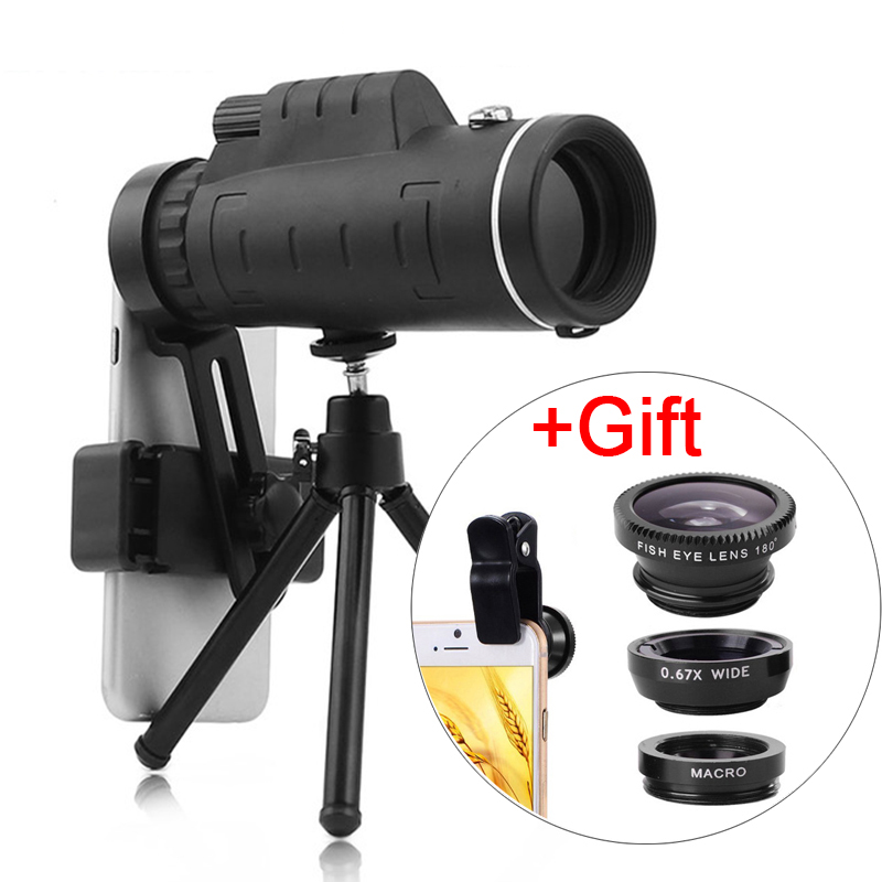 3In1 Lens Universal 40X Optical Glass Zoom Telescope Telephoto Mobile Phone Camera Lens For iPhone 11 Samsung Smartphones lenseMobile Phone Lens   -