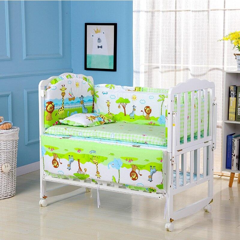 5pcs Baby Bed Bumper Kit Pure Cotton Soft Removable Washable Cartoon Anima Newborn Baby Bedding Crib Cot Bumper Baby Room Decor