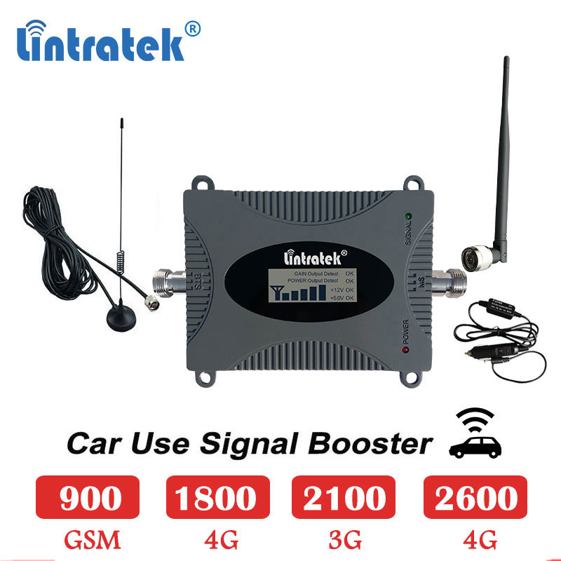 Lintratek Car Use Cellular Booster 2600mhz 4g 1800 Mobile Signal Repeater Gsm 900 Lte 1800mhz 2600 Umts 3g 2100 4g Amplifier S4