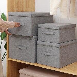 Новые большие ящики для хранения с крышками, складные корзины, органайзер для одежды, для стёганого одеяла, дома, спальни, шкаф, тканевые ящи...
