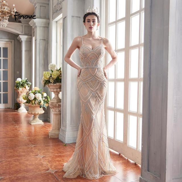 Finove New Design 2020 Mermaid Evening Dresses Tulle With Beading Sexy V Neck Spaghetti Strap Long Formal Dress For Women