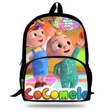 16-inch mochila escolar cocomelon impressão crianças sacos de escola meninos adolescentes meninas mochilas portáteis diárias