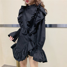 2020 Spring Long Flare Sleeve O Neck Ruffles Loose Free Size Japan Style Black Irregular Short Mini Dress Women