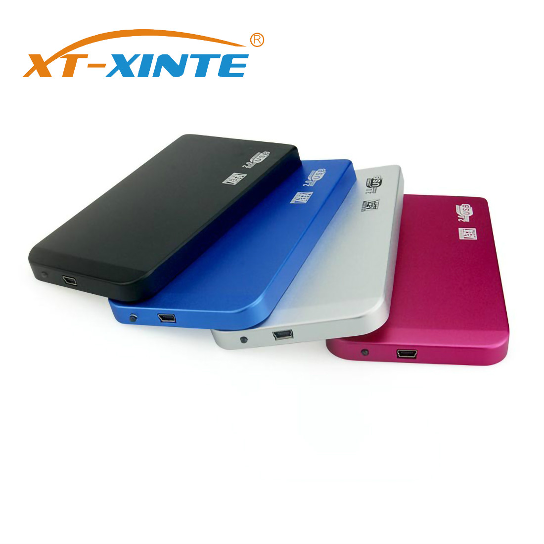 XT-XINTE Aluminum Alloy SATA to Mini USB 2.0 HDD Case 2.5 inch Hard Disk Drive Enclosure Portable External SSD Box Support 2TB image