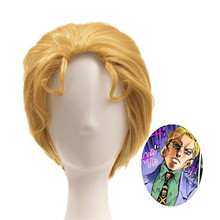 JoJo невероятное приключение Золотой ветер Косплэй парик Кира Yoshikage золотой парик JoJo no Kimyou na Bouken синтетические волосы+ парик cap