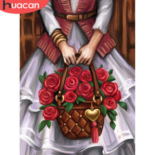 HUACAN Oil Painting By Numbers Rose Flowers Modern HandPainted Drawing Kits Canvas DIY Pictures Home Decoration Gift(China)