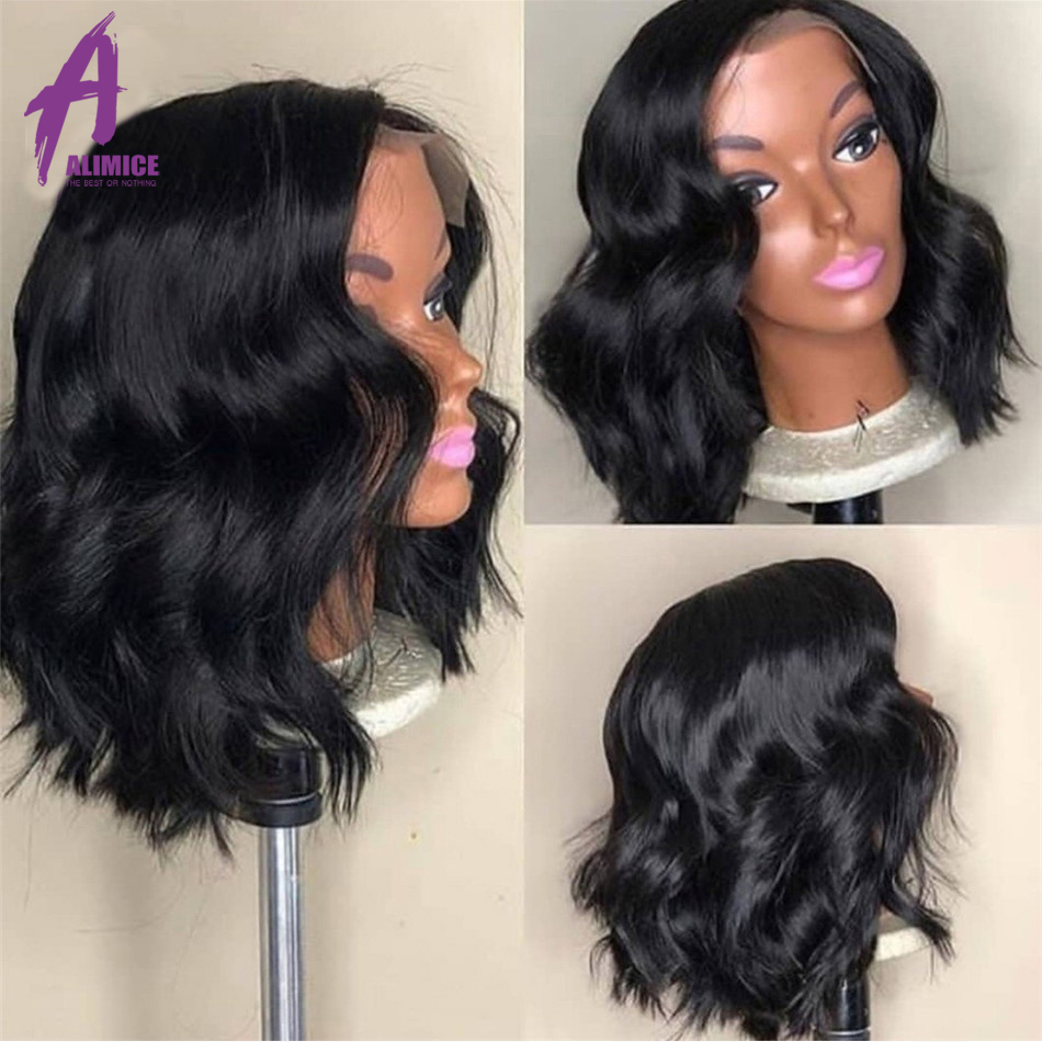 Alimice Malaysian Body Wave Lace Front Wigs With Baby Hair 13*4 Remy Human Hair Pre-Plucked Hairline Glueless Short Bob Wigs