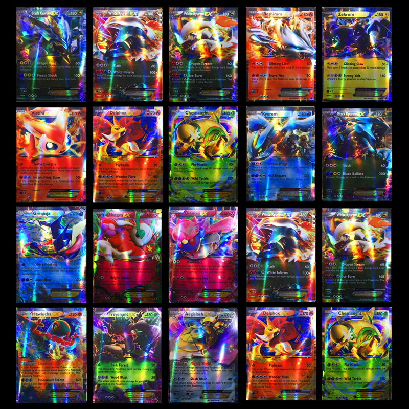 300 Pcs GX 20 60 100pcs MEGA Shining Cards Game Battle Carte Trading Cards Game Children Pokemons Toy