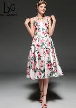 Baogarret Fashion Designer Runway Summer Dress Womens Spaghetti Strap Backless Casual Elegant Rose Floral Print