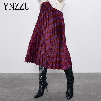 2020 Spring New Fashion Europen Stripe Print Elasticity Pleated skirt High Street Style A-line Midi Skirt Female YNZZU YD409