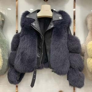 Image 5 - Yeni varış kadın moda kürk mantolar gerçek tam Pelt Fox kürk giyim hakiki koyun derisi DERİ CEKETLER S7650