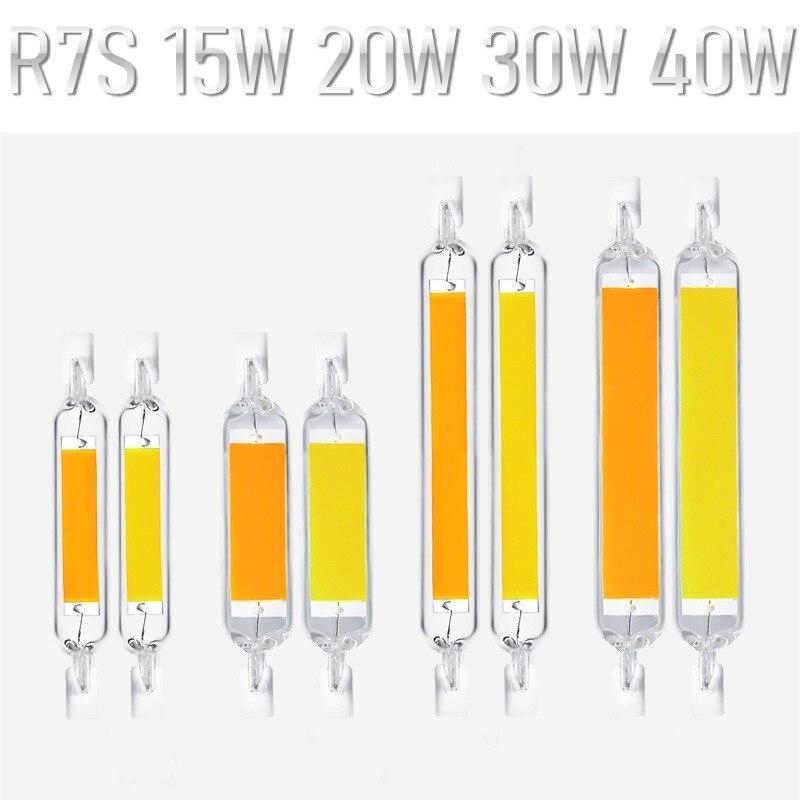 R7S LED Ligh 118mm 78mm 40W 30W 20W 15W Dimmable COB Lamp Bulb Glass TubeReplace Halogen Lamp Light AC85~265V R7S LED Spot Light