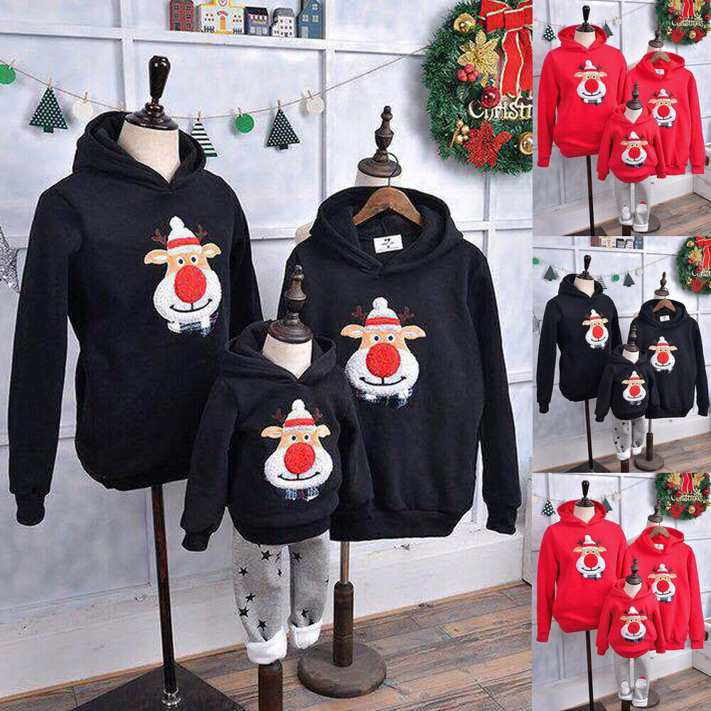LOOZYKIT New Family Matching Children Clothing Christmas Sweaters Deer Print Family Parent-child Suit Printing Cotton Sweater
