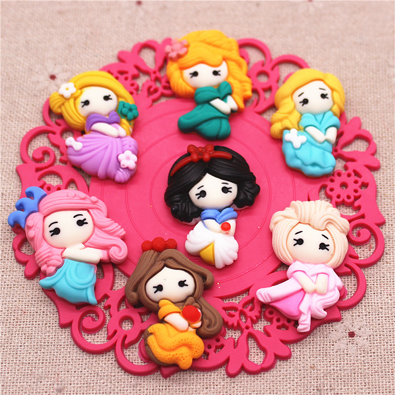10pcs Mixed Kawaii Cartoon Girls Resin Flatback Cabochon Charms DIY Decoration Hair Clip Crafts,about 22*35mm