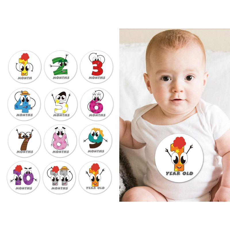 First Year Monthly Milestone Photo Sharing Baby Belly Stickers, 1-12 Months