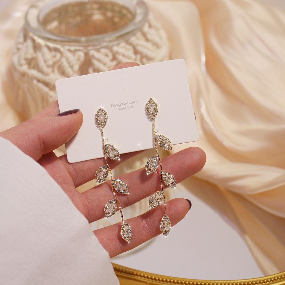 JUWANG Luxury 14K Real Gold Plated Leaves Earring Delicate Micro Inlaid Cubic Zircon CZ Stud Earrings Wedding Jewelry Pendant