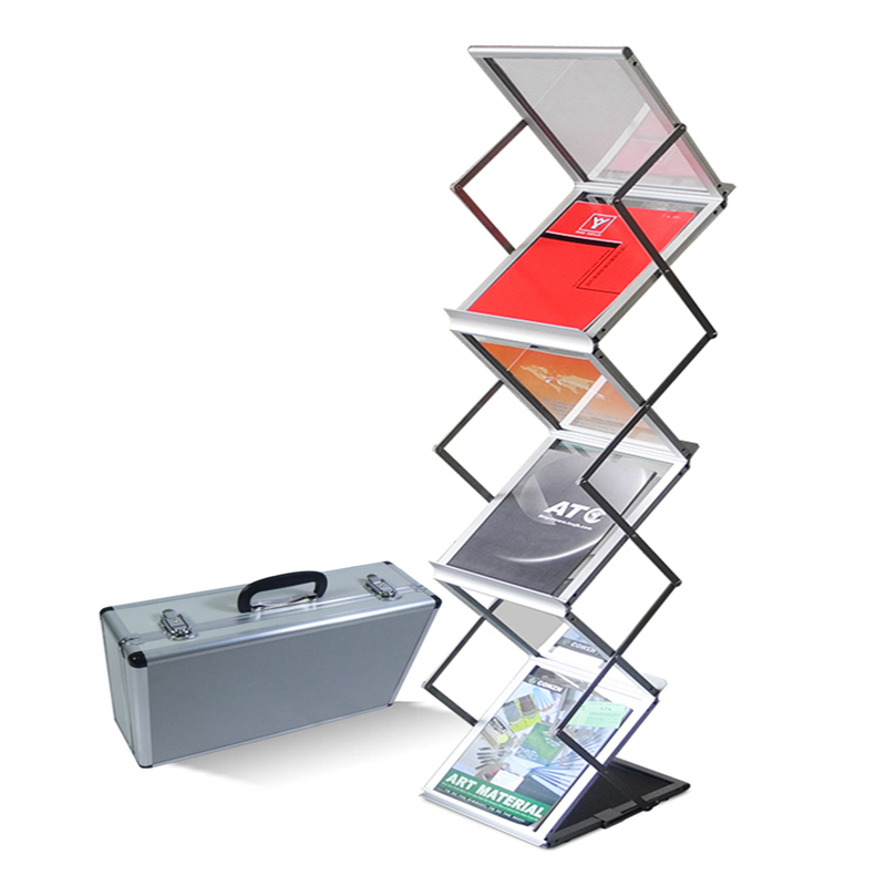Aluminum Alloy Folding Shelf Catalogue Shelf Propaganda Magazine Shelf Floor Exhibition Shelf Newspaper Shelf