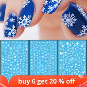 Image 1 - 1 Pcs 3D Nail Sticker Christmas Theme Pattern Mixed Deer/Snowflake Image Tips Nail DIY Decoration Sticker Decal LAF281 284