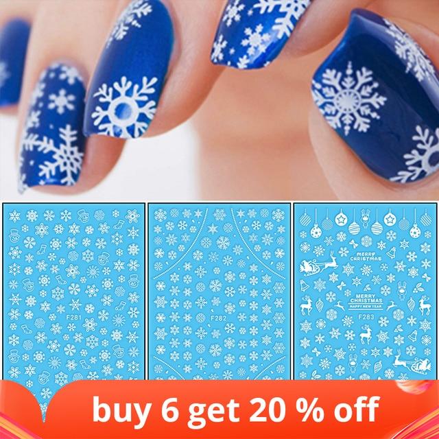 1 Pcs 3D Nail Sticker Christmas Theme Pattern Mixed Deer/Snowflake Image Tips Nail DIY Decoration Sticker Decal LAF281 284