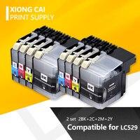 Yüksek kaliteli tam mürekkep kartuşu 8 adet kardeş LC529 için DCP J100 DCP J105 MFC J200 uyumlu mürekkep kartuşu
