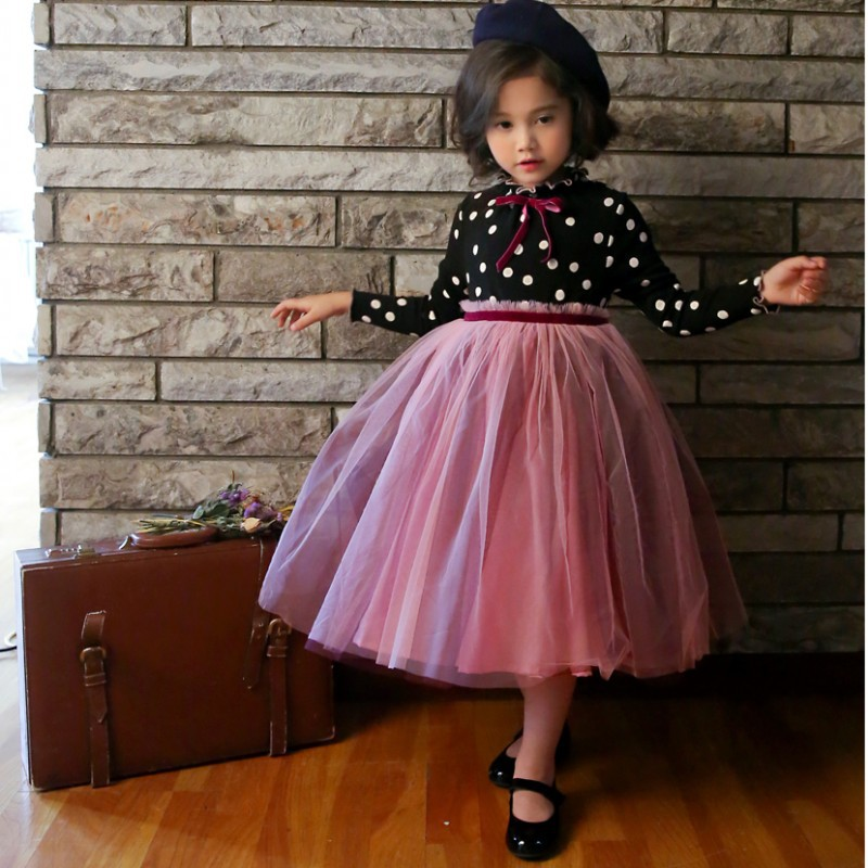 3-8 Years Autumn Dress For Girls Flower Lace Long Sleeve Backless Tulle Dresses Wedding Party Princess Bridesmaid  Formal Gown 2
