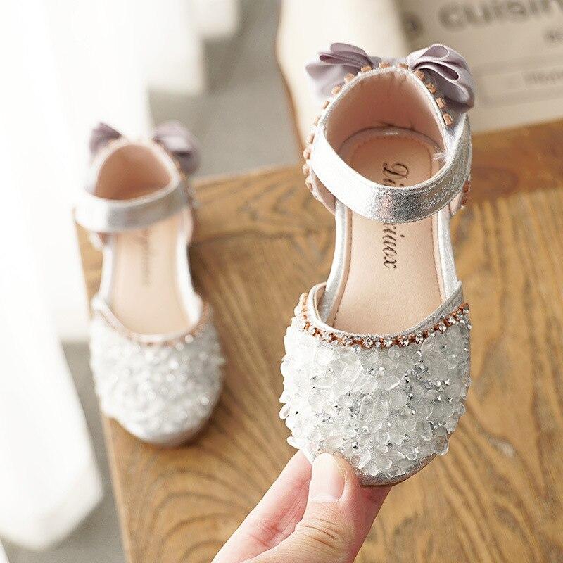 SKHEK Sandals For Girls Summer Children Kids Baby Girls Bowknot Crystal Princess Sandals Wedding Shoes