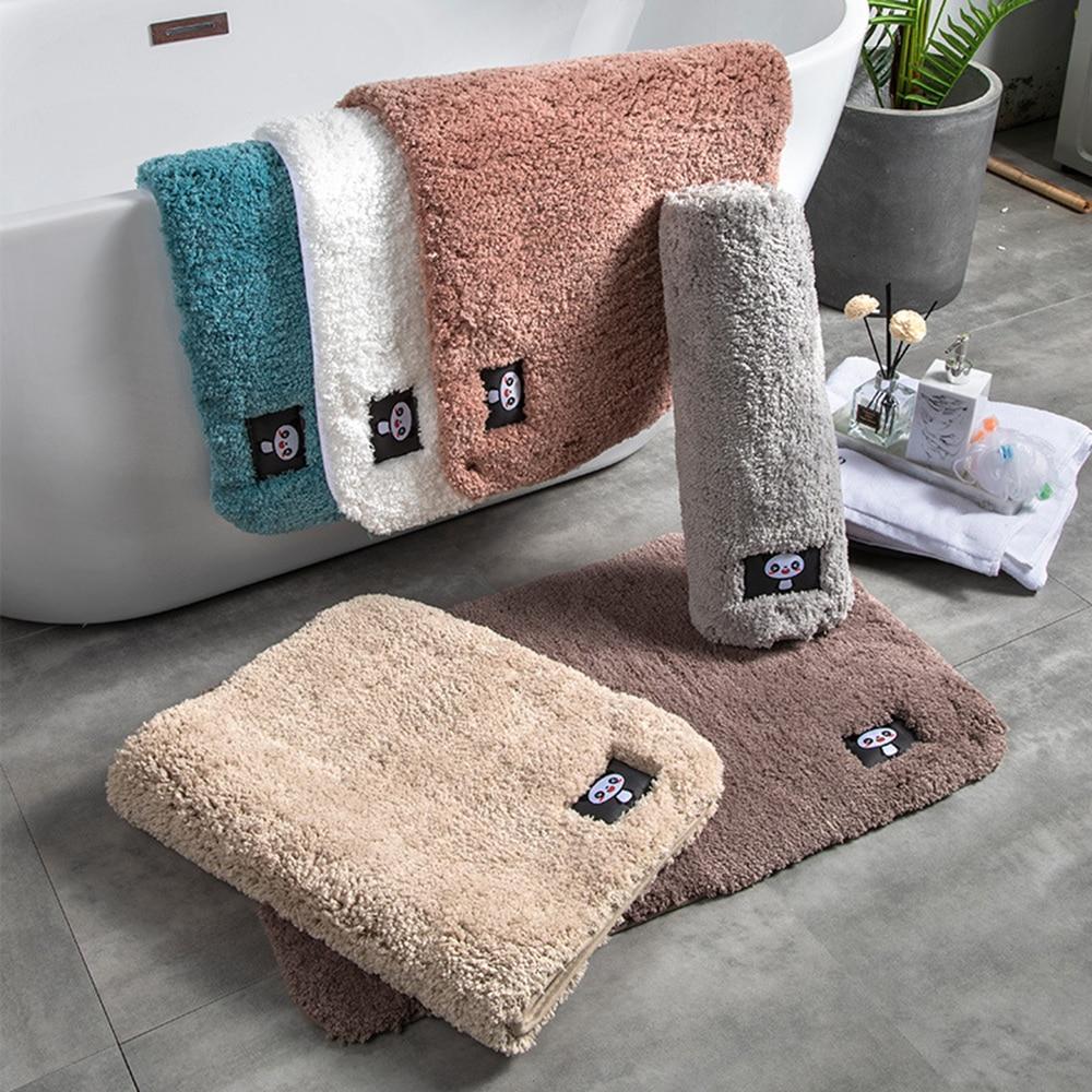 Cotton Fiber Bath Mat Super Absorbent Bathroom Carpets Rugs Panda Bathtub Floor Mat Doormat For Shower Room Toilet Bathroom Mat