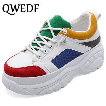 QWEDF Women Casual Shoes Woman Sneakers Platform Wedges High Heels Flats Women's vulcanized shoes Color stitching Increase D5-31